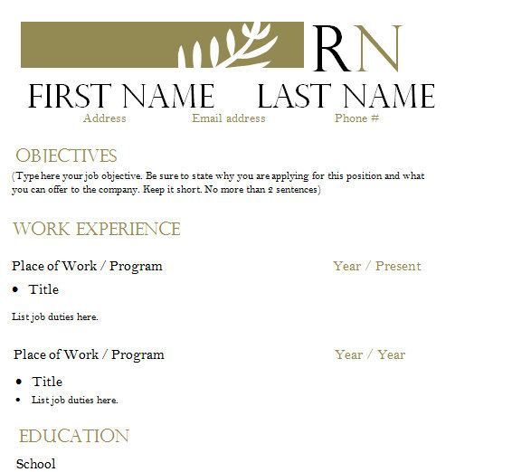 14 best Nursing Resume Templates \ Cover letters images on - resume template rn