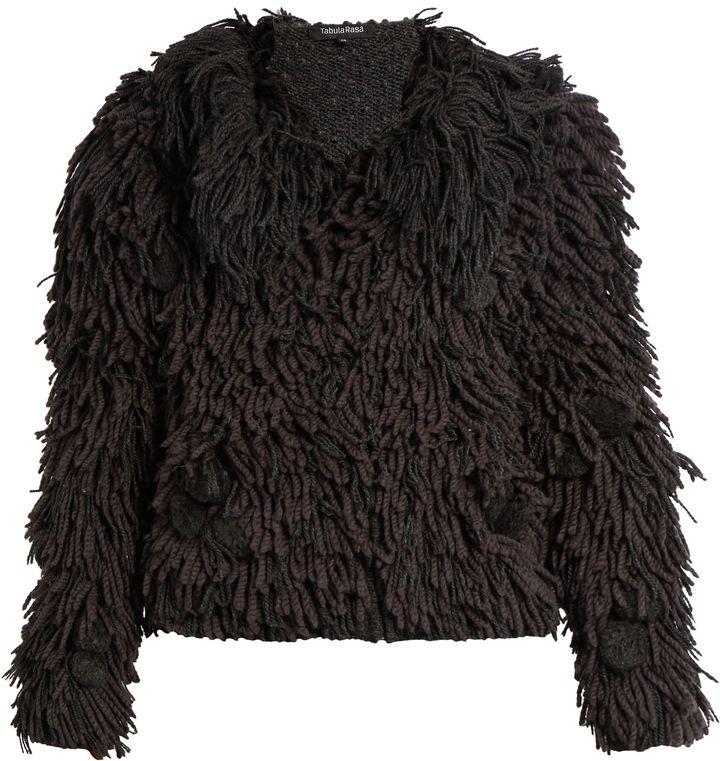 TABULA RASA Mala hand-fringed alpaca-blend bomber jacket