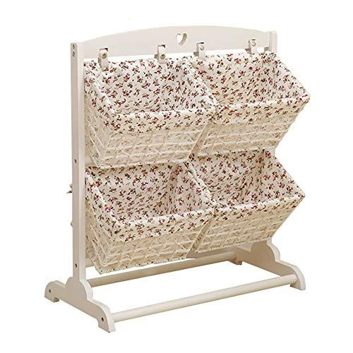 Storage Basket Lid Solid Wood Fabric Debris Rattan Shelf Living Room ...