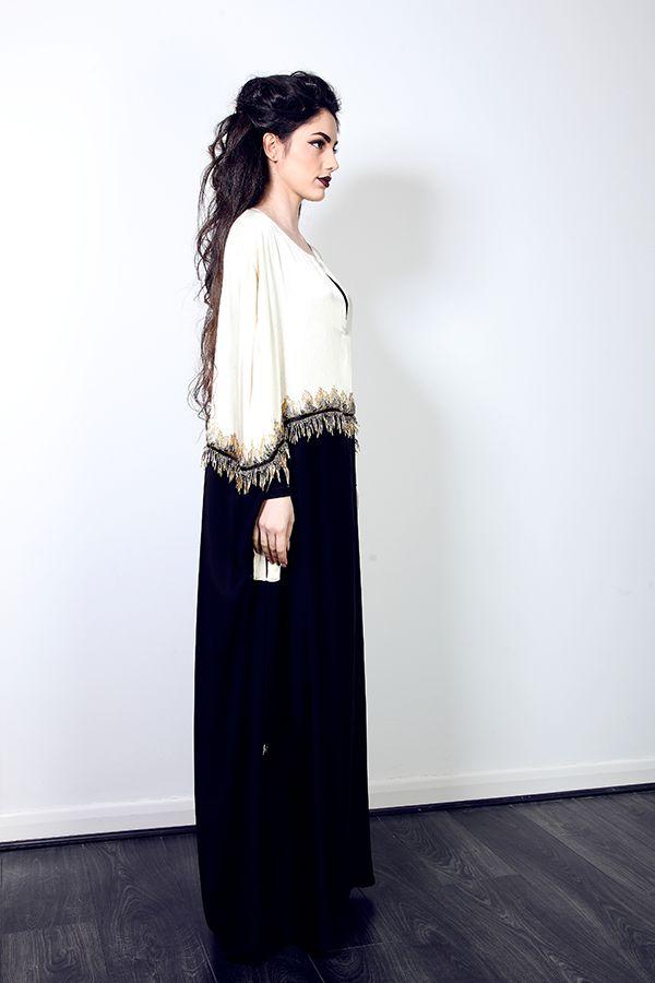 Cream and Black Abaya with gold embellishment   Modest Rail