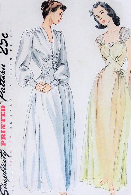 1940s Gorgeous Negligee and Nightgown Pattern Stunning Design Details Wedding Trousseau Pin Up Style Simplicity 2235 Vintage Sewing Pattern Bust 32