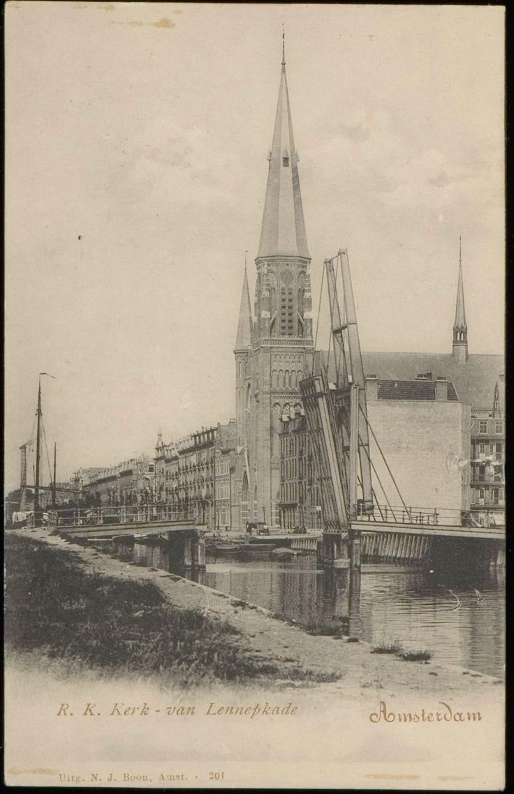 Jacob van Lennepkade in aanbouw met ophaalbrug in 1900.