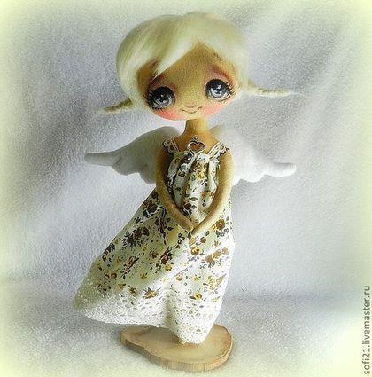 Коллекционные куклы ручной работы. Ярмарка Мастеров - ручная работа. Купить Ангел любящего сердца.... Handmade. Белый, натуральные