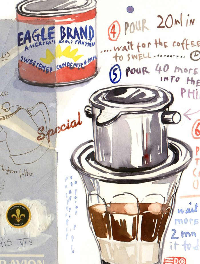 """Vietnamese coffee recipe Archival giclee reproduction print from original watercolor illustration painted on vintage vietnamese envelope. Signed with pencil. Format : Horizontal Printed on fine art """""""