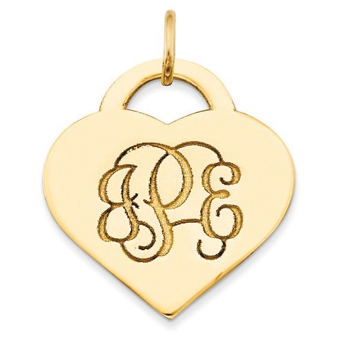 Letters Heart Monogram Pendant 10k Yellow Gold Casted High Polished 10xna511y Monogram Pendant Sterling Silver Heart Pendant Personalized Engraved Jewelry