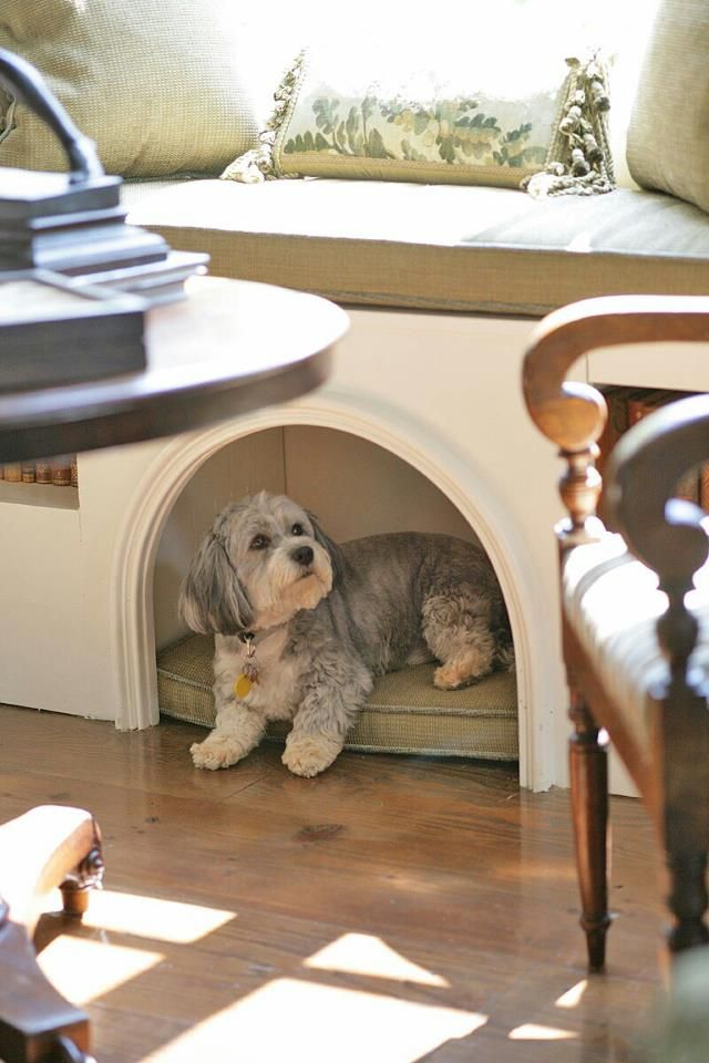 pet nook under furniture, love!