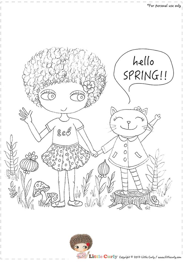 Little Curly's colouring pages - hello SPRING!