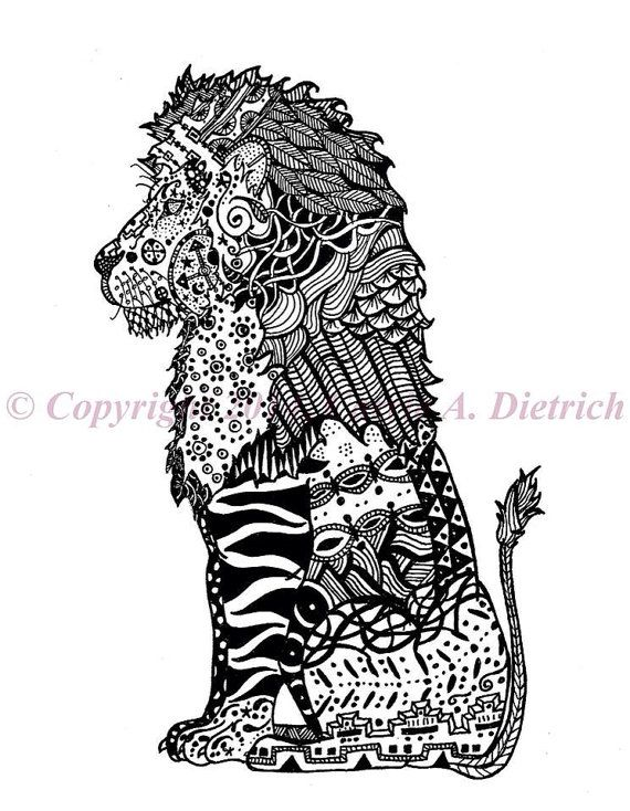 Art black and white art pen and ink lion 8 x 10 art lion drawing animal drawing animal art pe
