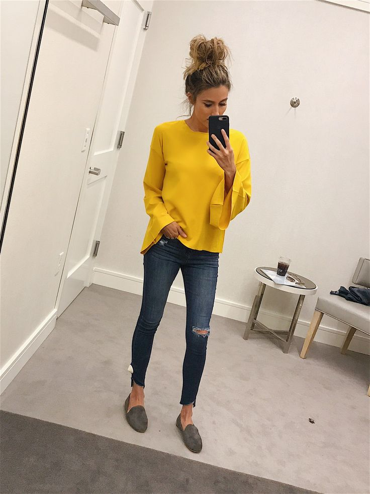 Nordstrom Sale Open to the Public! - Hello Fashion. Yellow bell sleeve top+distressed cropped jeans+grey loafers. Fall Casual Outfit 2017
