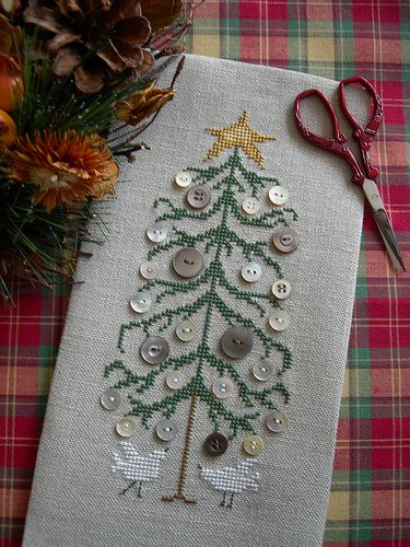 Button Tree by Drawn Thread. Christmas cross stitch