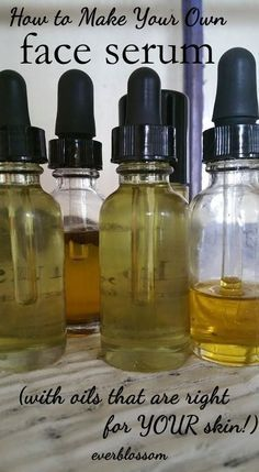 Learn to make your own face serum for YOUR skin type!: I've been making my own a while using jojoba, rose hip , evening primrose and lavender oils