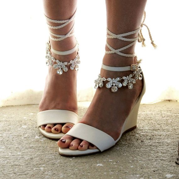 Wedge Heel Shoes For Wedding: Ladies Ivory Wedge Shoes And Anklets. Sold As By