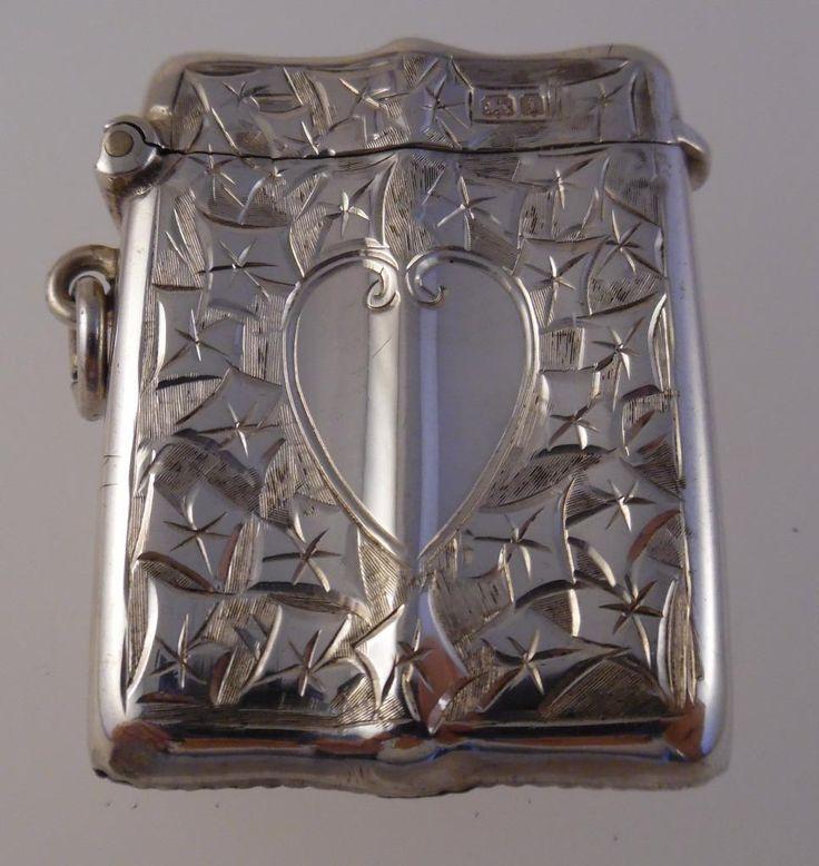 Edwardian Smith & Bartlam Sterling Silver Heart Vesta Case/Match Safe 1908 (U23) | eBay