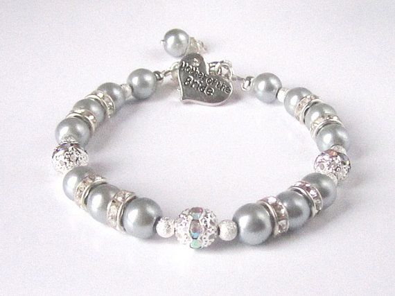 Silver Grey Pearl Bracelet Mother Of The Bride by UrbanDaisyBridal