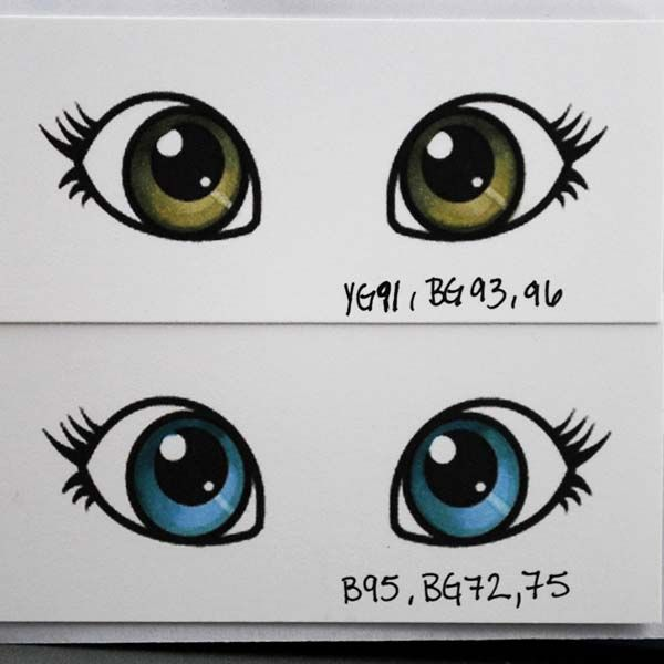 Hazel and blue eye colour tutorial using Copic Markers