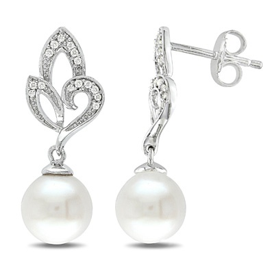 Fine Jewelry Cultured Freshwater Pearl & Brilliance Bead Sterling Silver Drop Earrings MHcLsu