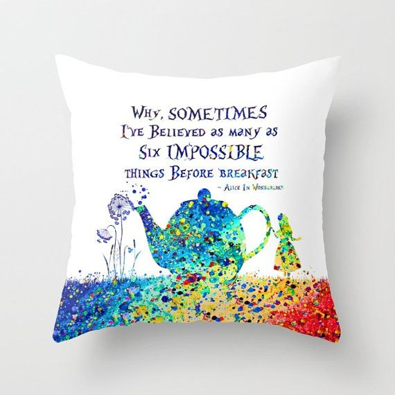 Alice In Wonderland Throw Pillow Cover Watercolor Art Alice In
