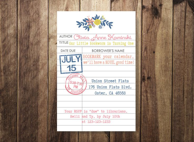 Bookworm Birthday Party, Vintage Library Card Invite, Library Theme Birthday, Book Worm, First Birthday, Shabby Chic Birthday DIY Printable by TheDoodleCoop on Etsy https://www.etsy.com/listing/237421139/bookworm-birthday-party-vintage-library