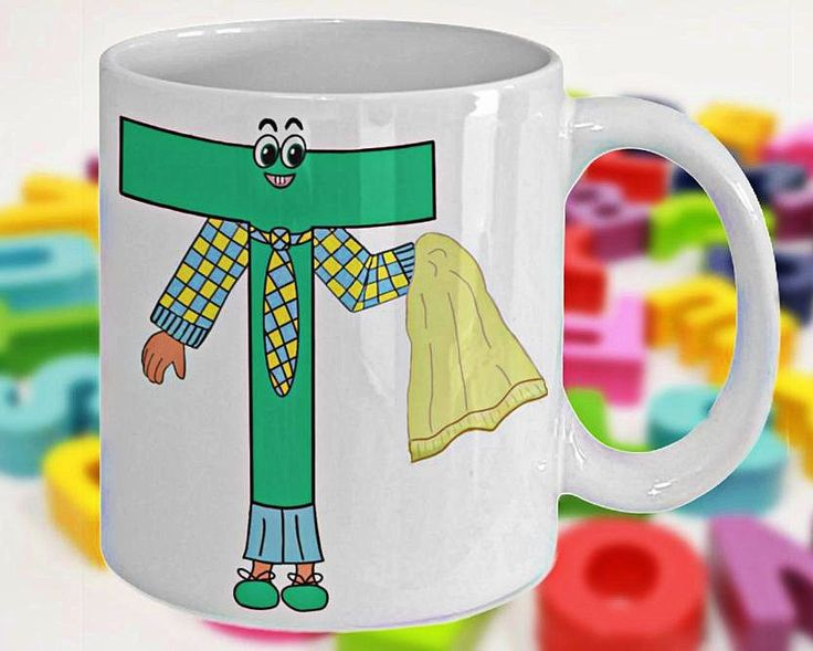 Alphabet Mug with Funny ABC Cartoon Characters as Children's Initials, Fun Gift for Kids, Letter T, 11oz, White Ceramic, Double-Sided Print by PortunaghDesign on Etsy