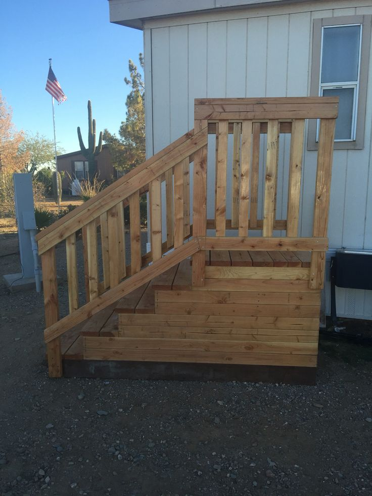 Custom steps for mobile home bad az woodworks for Patio decks for sale