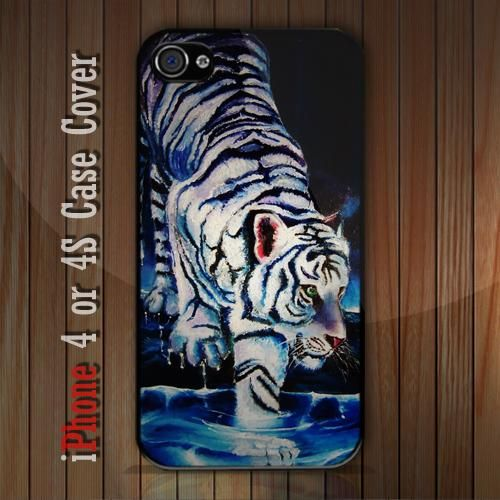 New White Tiger iPhone 4 or 4S case Cover iPhone case 4/4S - 1