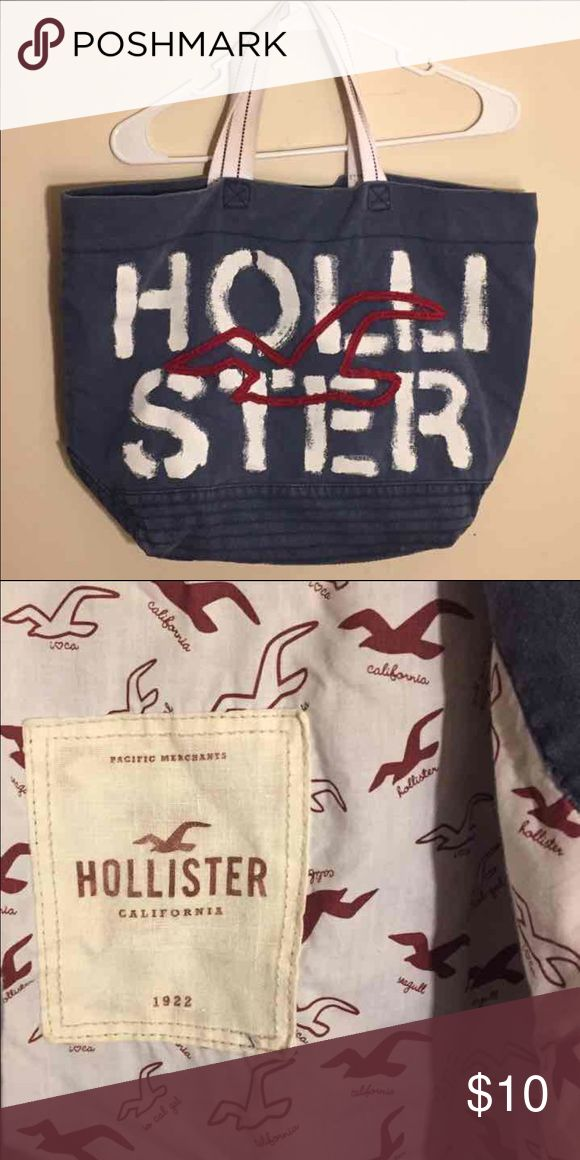 Hollister tote Blue with white writing and red seagull Hollister Bags Travel Bags