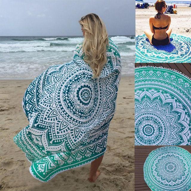 On Sale $9.41, Buy Sunbath Round Beach Towels Bohemian Style Print Ball Tassel Blanket Yoga Mat Women Sunbath Dress Bath Towel