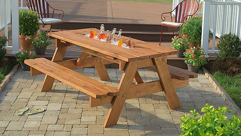 DIY Picnic Table with Built-in Cooler ~ What can make a DIY picnic table even more delightful? A built-in tabletop cooler bin with a replaceable cover. The plans here are for a 6-foot-long table. At the bottom of this tutorial you'll find a link to a downloadable and printable version of the instructions. Just follow these step-by-step instructions to build your own picnic table with a built-in cooler.