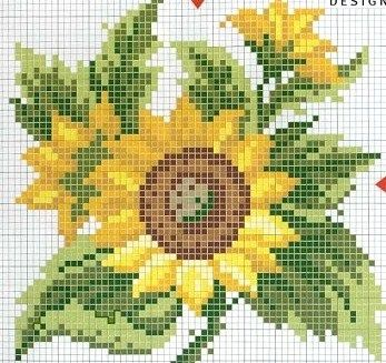 sunflower cross stitch chart.. no color chart, just use pattern chart colors as your guide.. or choose your own colors.
