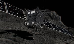 A computer generated artist's impression of Rosetta shortly before hitting comet 67P/ChuryumovGerasimenko.