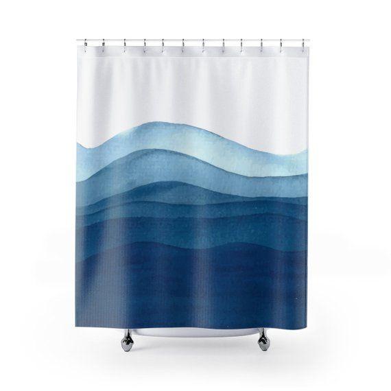 Waves Shower Curtain Bathroom Decor Home Decor Housewares