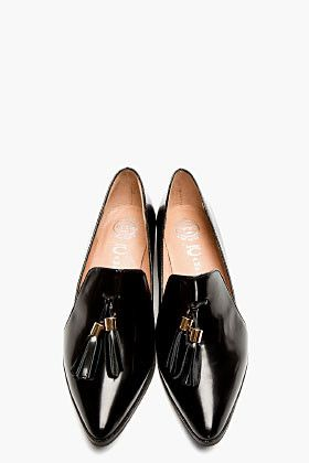 Jeffrey Campbell Black Buffed Leather Pointed Blane Loafers for women | SSENSE....x