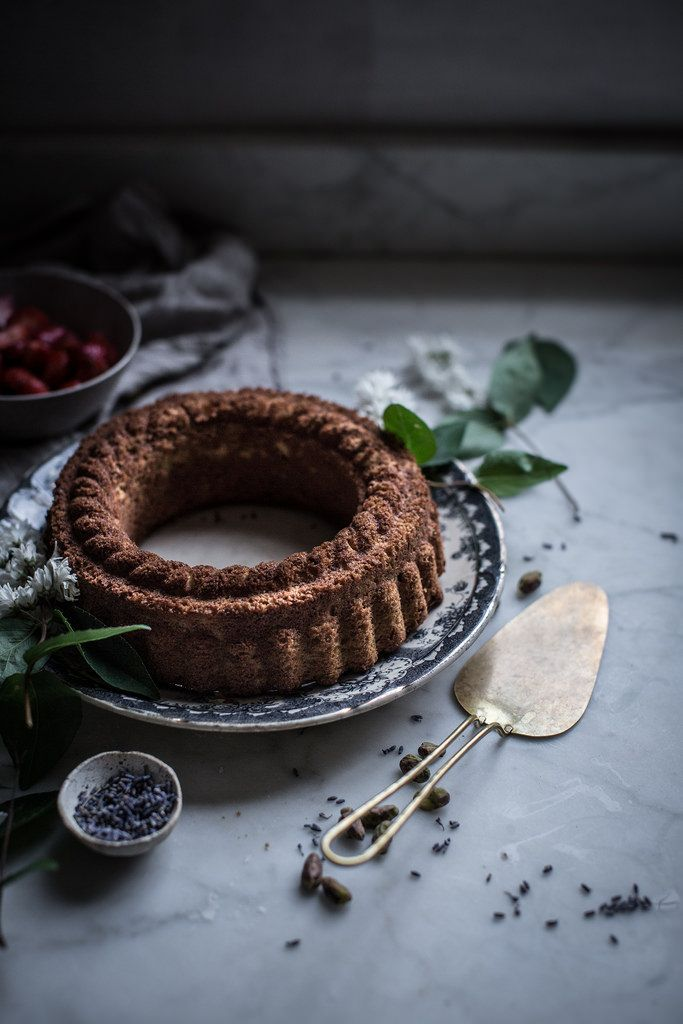 "Local Milk   pistachio pound cake + lavender sugar strawberries from ""sweeter off the vine"""