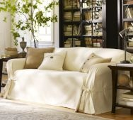Sofa Cover and  Throw Pillows with Button Detailing in Natural Fabric and Colors