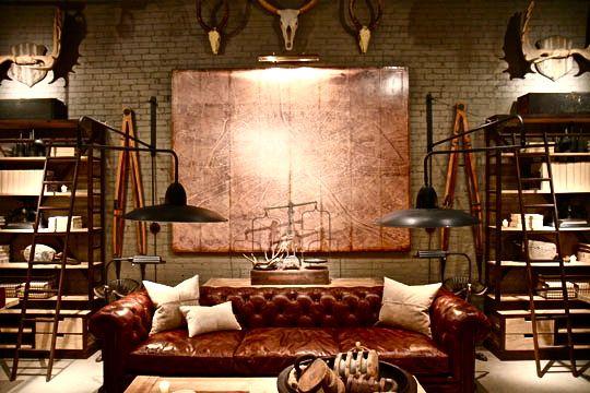 Wohnungseinrichtung im rustikalen Kupferstich mit Leder und Industriedesign kombiniert.