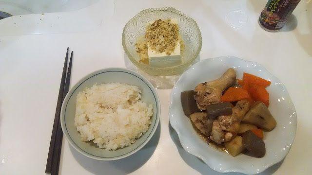 神田森莉 ハムブログ: なんか和風な感じ。鶏肉の手羽元とコンニャクと里芋を煮たもの、ひややっこ。#朝食 #夕食 #昼食 #ランチ #グルメ #ディナー #食事 #料理 #食料 #食べ物 #ご飯 #Breakfast #dinner #lunch #gourmet #meal #Dish #food #rice #cook #cooking