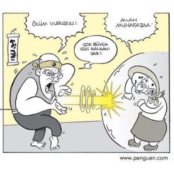 - Ölüm vuruşu!..  + Allah muhafazaa!  - Çok büyük güç kalkanı var!..  #karikatür #mizah #matrak #komik #espri