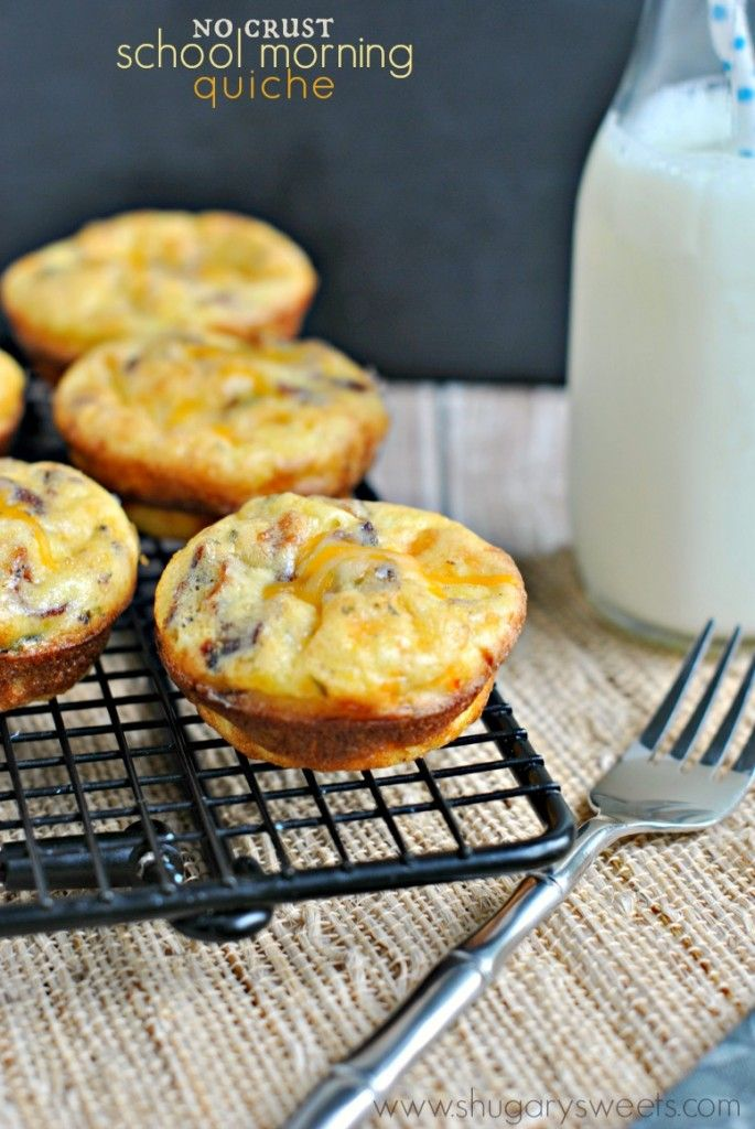 School mornings are busy enough. Why not enjoy some of these no-crust quiche. Make ahead and freeze #bacon #backtoschool