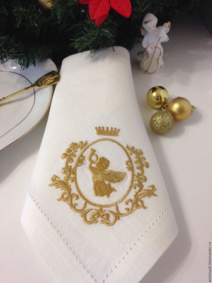 """Купить Льняные салфетки""""Ангел """" - золотой, салфетки вышитые, Машинная вышивка, новый год 2017"""