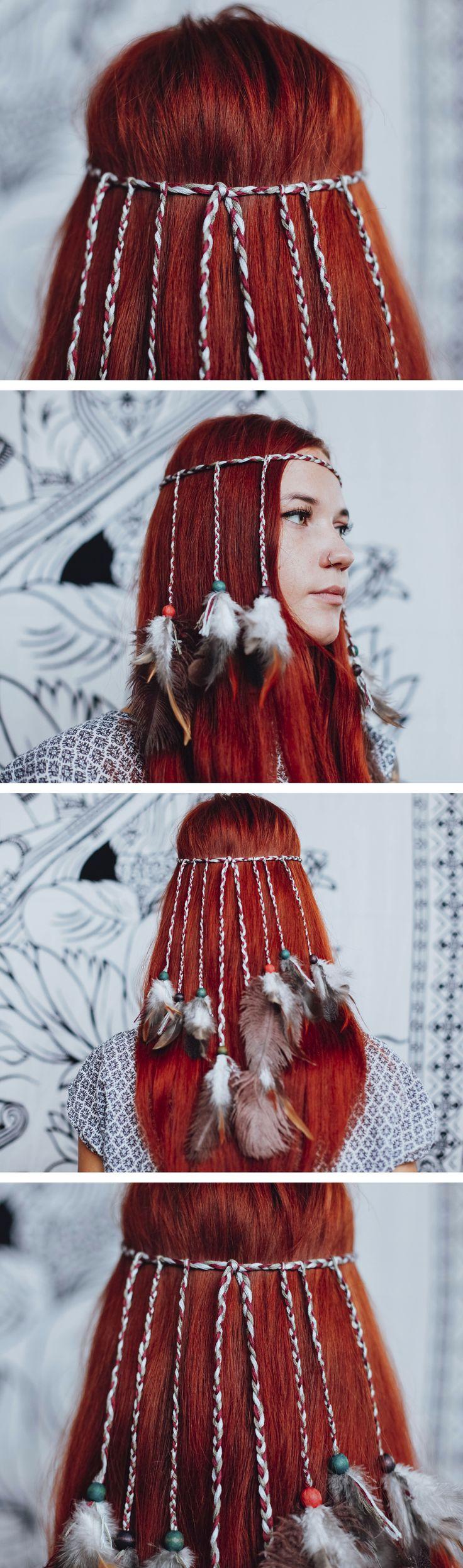 Hippie Headband / Feather Headband / Boho Headband / Festival Headband / Hair Accessories / Bohemian / Tribal