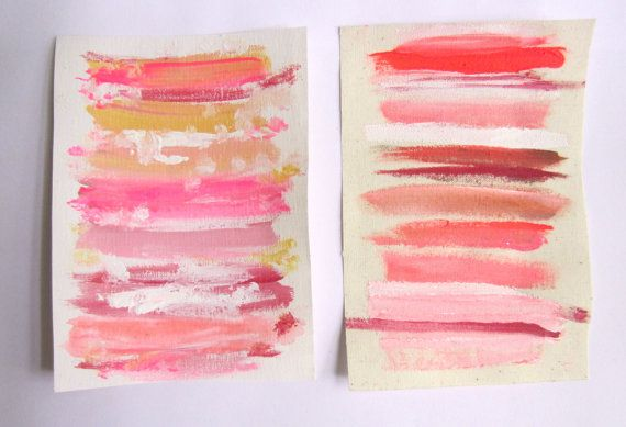 Set of 2 Small Pink Contemporary Paintings / Chic by StudioOmega, $45.00