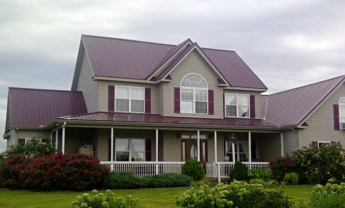 Best Paint House Beige Walls And Burgundy Roof Metal Roof 640 x 480