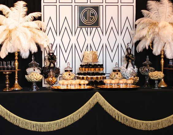 the great gatsby wedding inspiration | dessert table decorations |