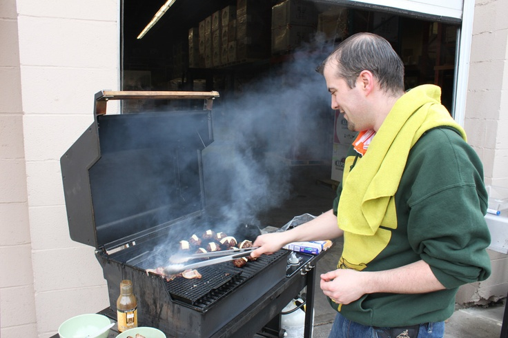 Curtis at our North Calgary store was cooking some burgers and bacon for lunch. Creating lots of smoke gave the warehouse and store that nice barbecue smell for the rest of the afternoon. It definitely made everyone hungry!