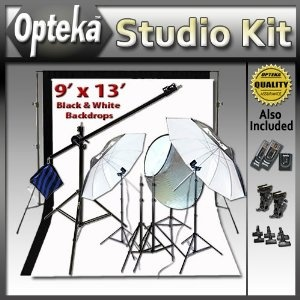 Deluxe Portrait Studio Starter's Kit by Opteka Package Includes: Opteka Heavy-Duty Photography Backdrop Supporting System, Opteka Black and Opteka White 9' X 13' Muslin Backgrounds, Opteka 7-foot Boom Stand Boom Set, Opteka RFT-40 Remote Shutter Release and Wireless Flash/Light Trigger Combo and Much More for Canon EOS 1D, 1Ds, 5D, 7D, 10D, 20D, 30D, 40D and 50D DSLR Cameras (Electronics)  http://skyyvodkaflavors.com/amazonimage.php?p=B004URR8CM  B004URR8CM: Opteka Package, Studio Starter S, Black And White, Supporting System, Starter S Kit, Photography Backdrops, Backdrop Supporting