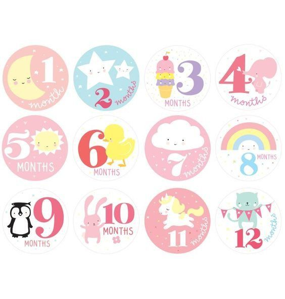 Baby girl milestone stickers