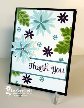 July club thank you - Blackberry Bliss, Old Olive, Soft Sky SU Inks. Four Your & Flower Patch Stamp Sets