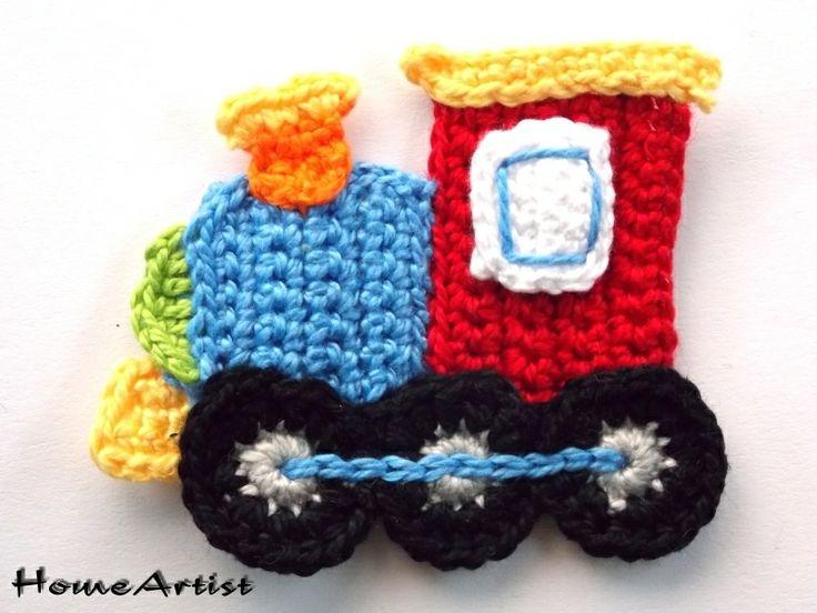 Lokomotive Häkel Applikation Crochet von Home Artist auf DaWanda.com