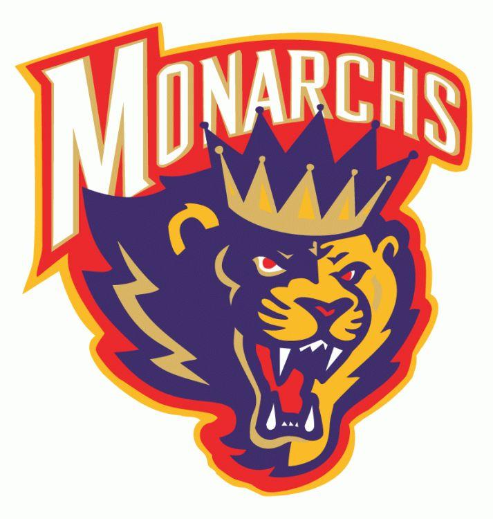 Carolina Monarchs Primary Logo (1996) - A fierce lion wearing a crown under the script Monarchs