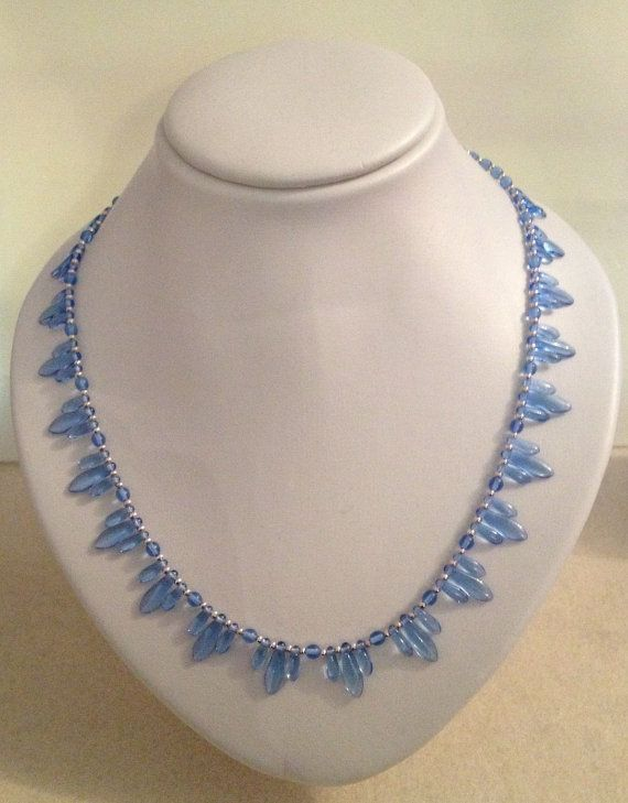 Sky Blue Art Deco Inspired Beaded Necklace by JewelleryByJanine, £20.00